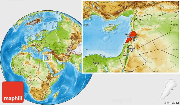 Physical location map of Lebanon.