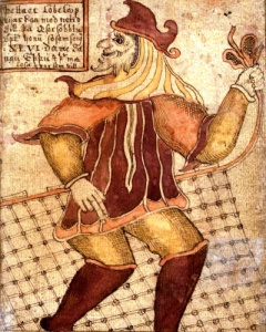 Loki with a fishing net (per Reginsmál) as depicted on an 18th-century Icelandic manuscript (SÁM 66)